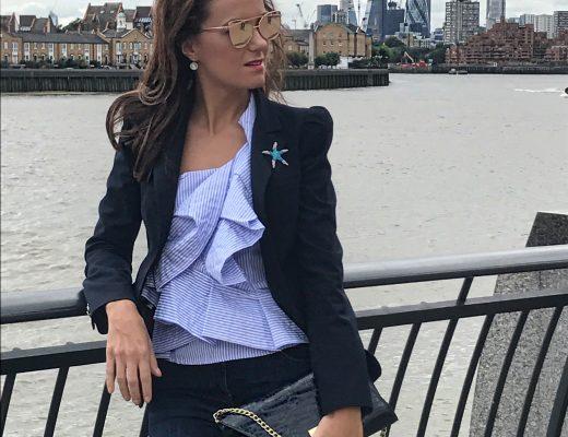 Blue stripes top and Zara blazer