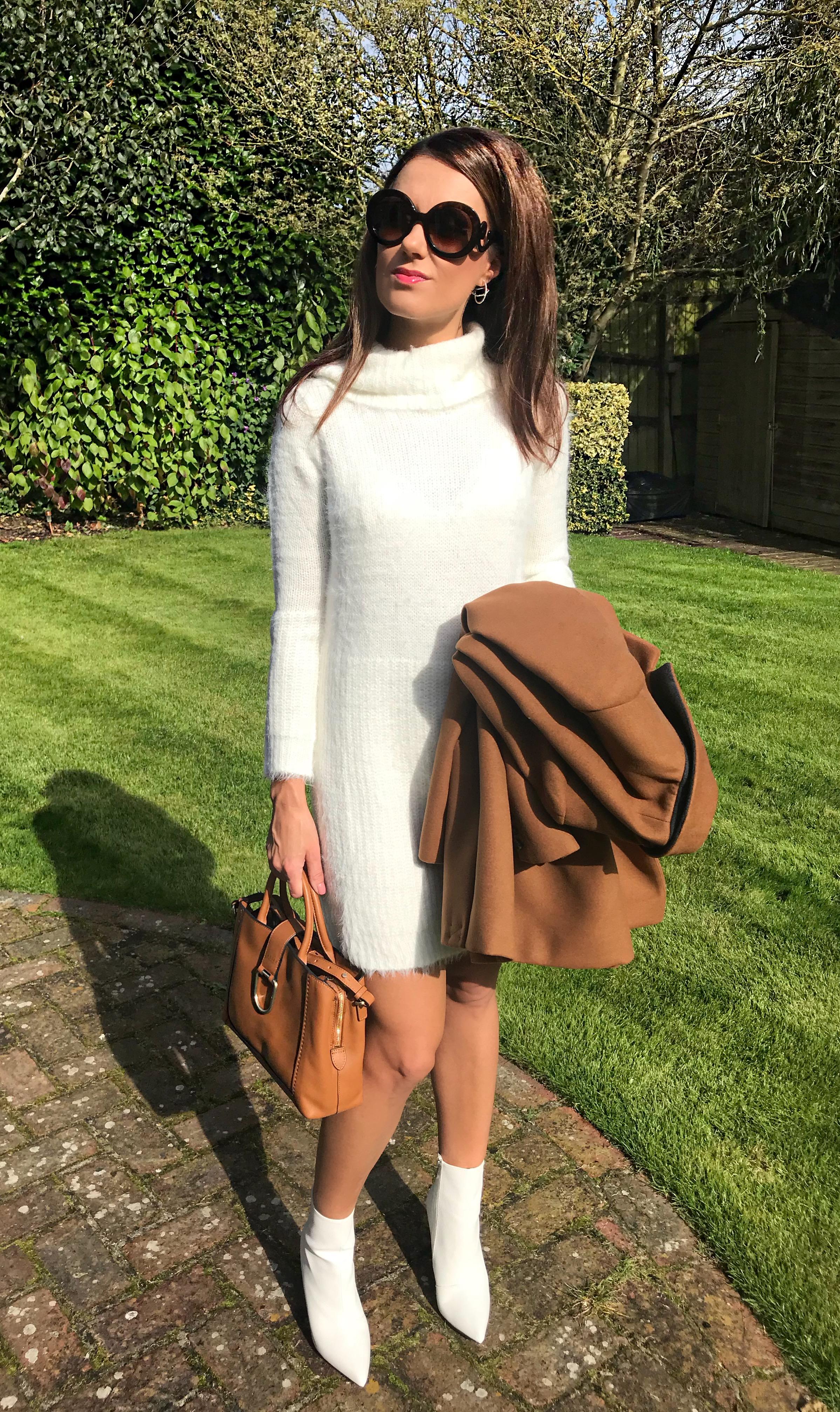 Warehouse Double Breasted Tailored Coat QED London Oversized Roll Neck Jumper Dress |Public Desire Harlee White Pointed Ankle Boots | Radley Bag | Swarovski hoop earrings | Prada Baroque Earrings