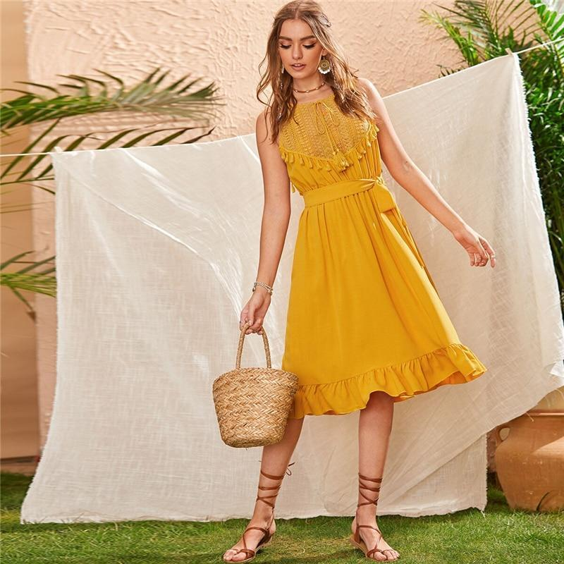 Summer Boho Lace Panel Ruffle Hem Belted Dress