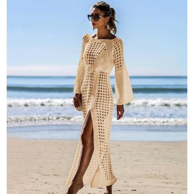 Beach Knitted Long Sleeve Holiday Dress Cover