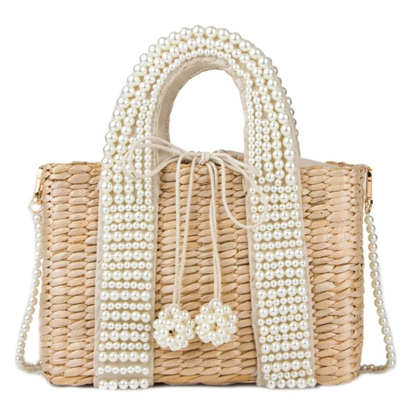 Elegant Duchess Boutique Pearl Straw Bag