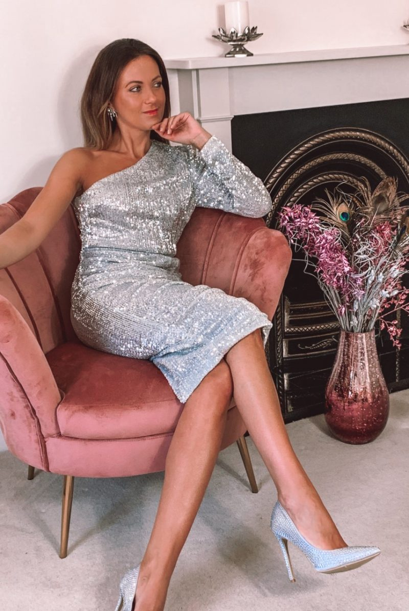 Silver Cold shoulder pleated sequin midi dress